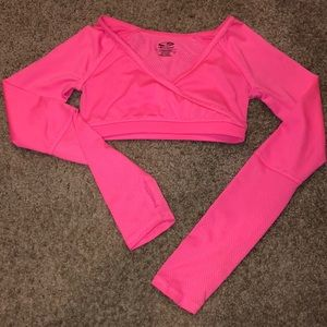 Hot pink C9 by Champion crop top with thumb holes